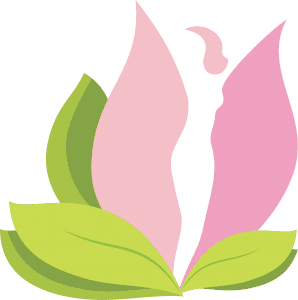 Healing Breast Implant Illness logo. Lotus flower with silhouette of a woman.
